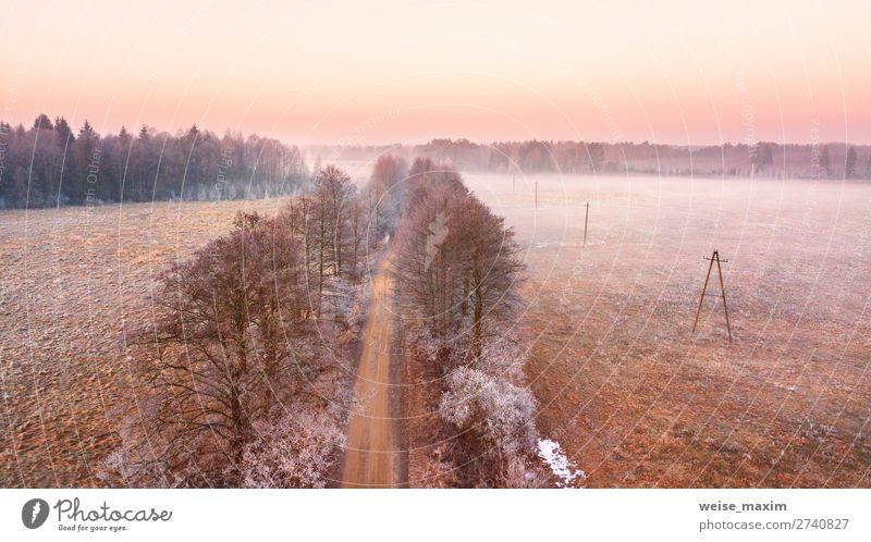 Ländlicher Nebel Morgendämmerung Morgenlandschaft schön Ferien & Urlaub & Reisen Ausflug Ferne Freiheit Expedition Winter Schnee Natur Landschaft Erde Luft
