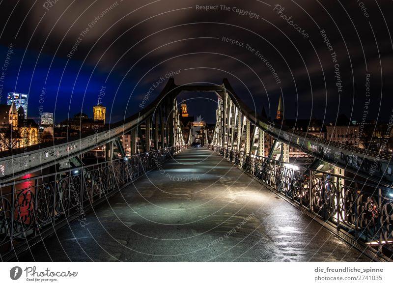 Eiserner Steg Nachthimmel Winter Frankfurt am Main Deutschland Europa Stadt Stadtzentrum Skyline Brücke Sehenswürdigkeit blau mehrfarbig gelb gold schwarz