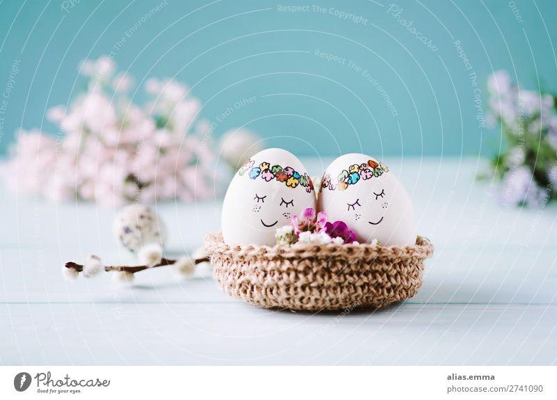 OSTERkuschelEI - 2 süße Ostereier liegen im Osternest blau Farbe schön Blume Gesicht Hintergrundbild Auge Frühling Textfreiraum Baby Postkarte Ei gemütlich