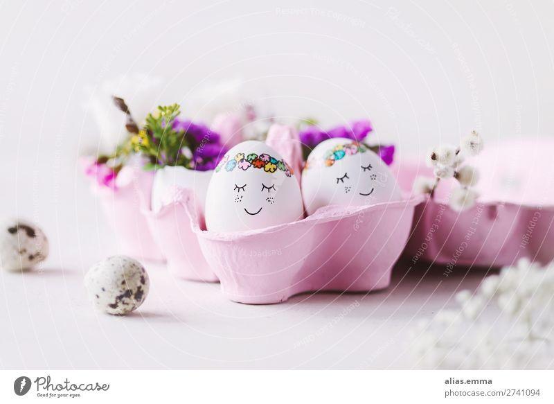 OSTERkuschelEI in pink - süße Ostereier in rosa Eierkarton Ostern blau Gesicht schön bemalt Osternest Textfreiraum Osterwunsch Ostergeschenk Postkarte Frühling