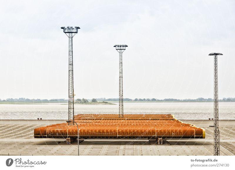 Rohrpost Umwelt Natur Landschaft Wasser Küste Flussufer Nordsee Ostsee Bremerhaven Hafenstadt Menschenleer Turm Containerterminal Pipeline Röhren Lager