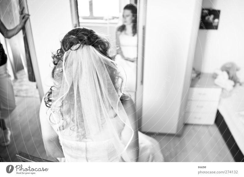 Brautschau Mensch Frau Jugendliche Freude Erwachsene feminin Haare & Frisuren Junge Frau Feste & Feiern Raum 18-30 Jahre Hochzeit Spiegel Locken Spannung