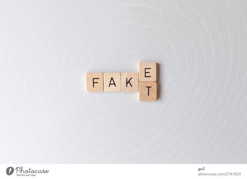 Fake vs Fakt Holz Spielen Freiheit Schriftzeichen Kommunizieren authentisch Zukunft gefährlich Wandel & Veränderung bedrohlich Zukunftsangst Netzwerk Internet