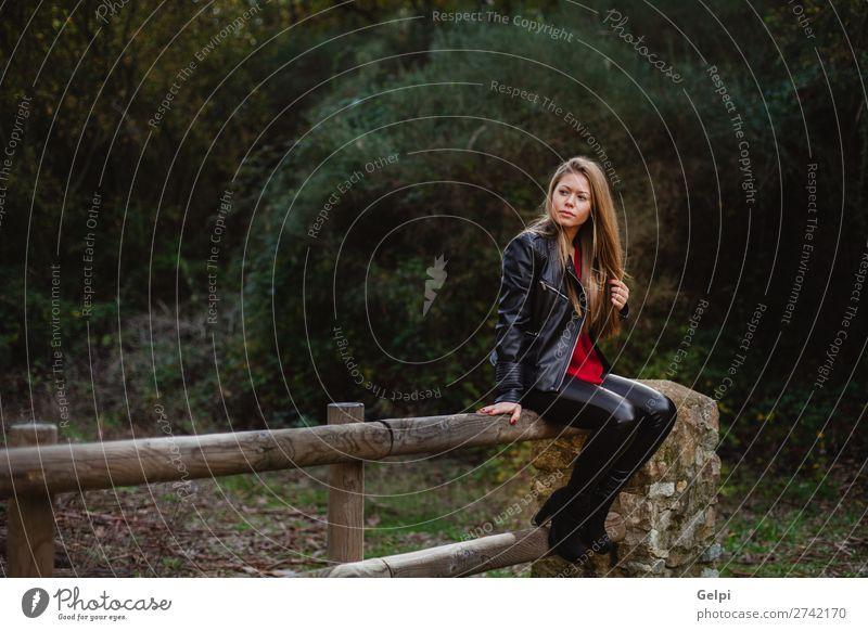 Cooles blondes Mädchen, das auf einem Holzzaun sitzt. Lifestyle Glück schön Erholung Ferien & Urlaub & Reisen Mensch Frau Erwachsene Natur Herbst Blatt Park