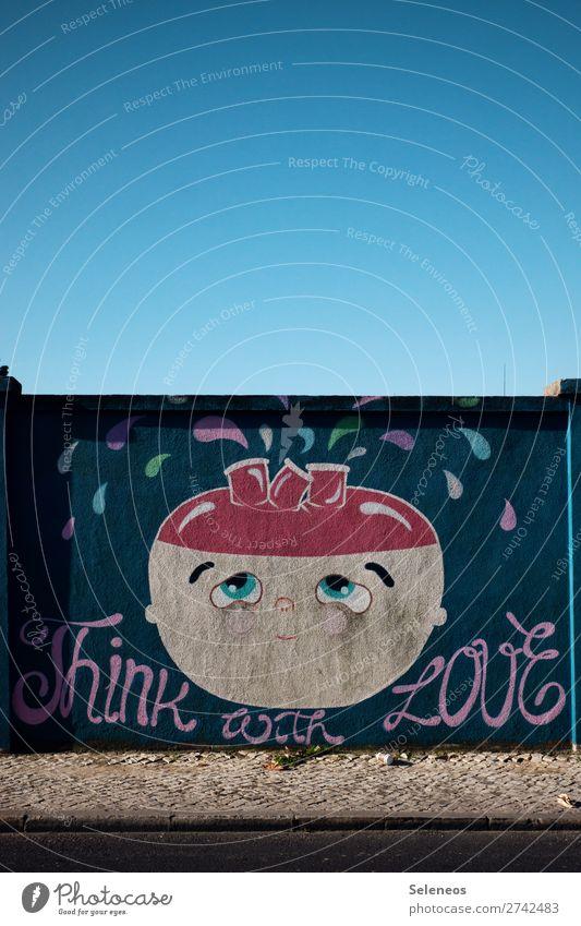 Happy Valentine Kunst Straßenkunst Wolkenloser Himmel Portugal Mauer Wand Fassade Zeichen Schriftzeichen Hinweisschild Warnschild Graffiti Fröhlichkeit Gefühle