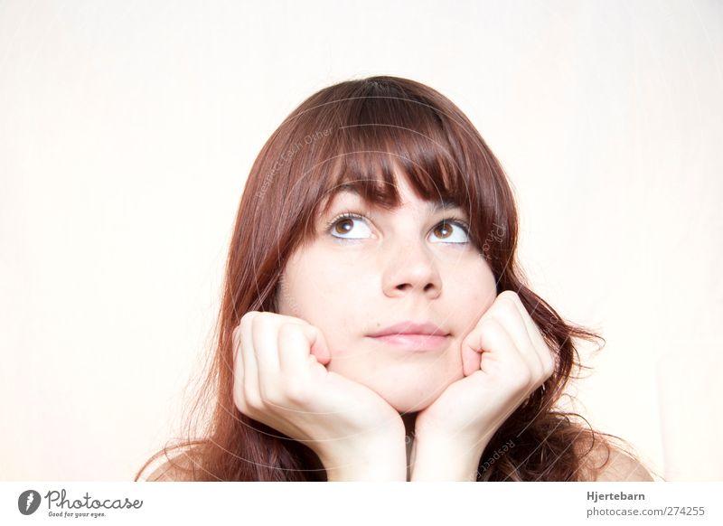 Nachdenklich Mensch Jugendliche Erwachsene Gesicht Haare & Frisuren Junge Frau Denken natürlich 18-30 Jahre Neugier brünett Langeweile langhaarig Inspiration