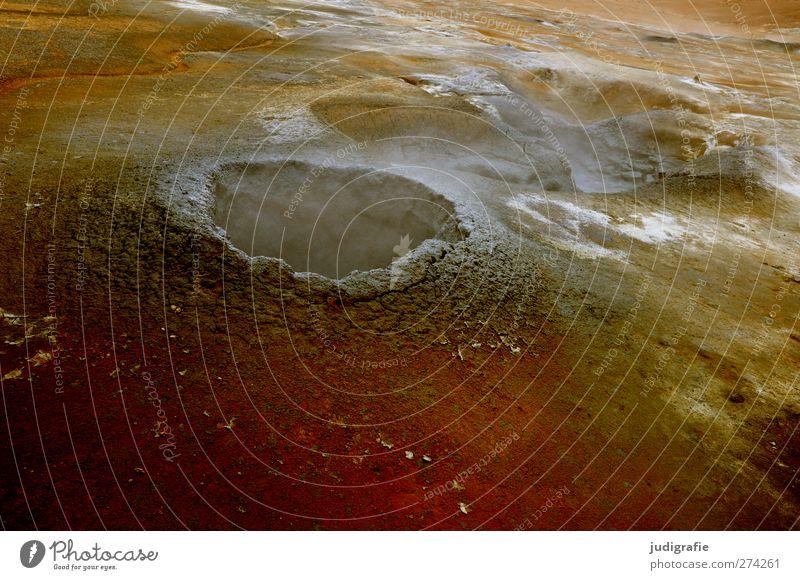 Island Natur Umwelt Landschaft Wärme Erde natürlich Urelemente heiß Rauch Wasserdampf Vulkan Schwefel Geothermik Solfatarenfeld