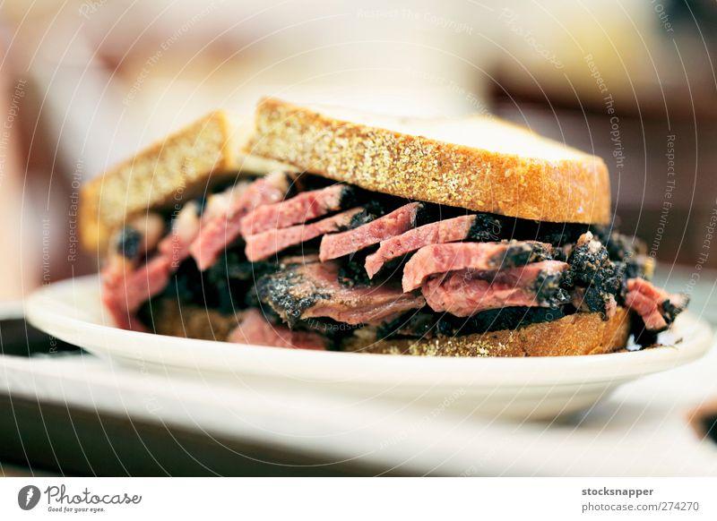 Lebensmittel Brot Fleisch New York City Roggen Belegtes Brot Rindfleisch