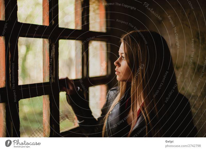 Nachdenkliche blonde Frau neben einem Fenster Lifestyle schön Gesicht Leben Freizeit & Hobby Wohnung Haus Mensch Erwachsene Denken Traurigkeit lang niedlich