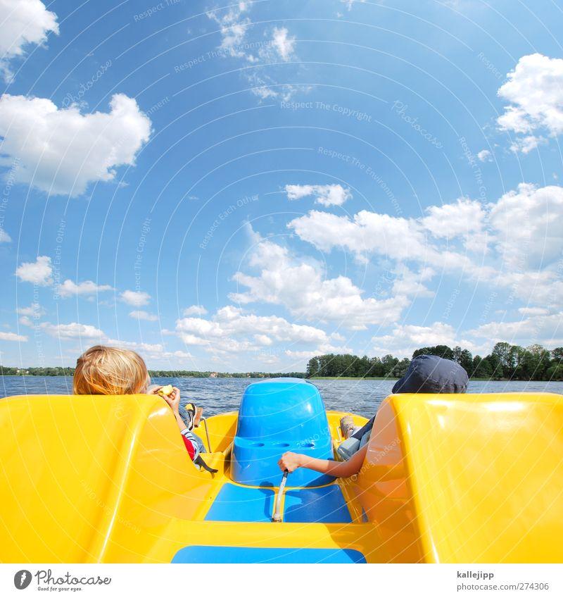 yellow submarine Mensch Kind Natur Wasser Ferien & Urlaub & Reisen Baum Sonne Sommer Spielen Bewegung Horizont Schwimmen & Baden Wellen Kindheit Klima Freizeit & Hobby
