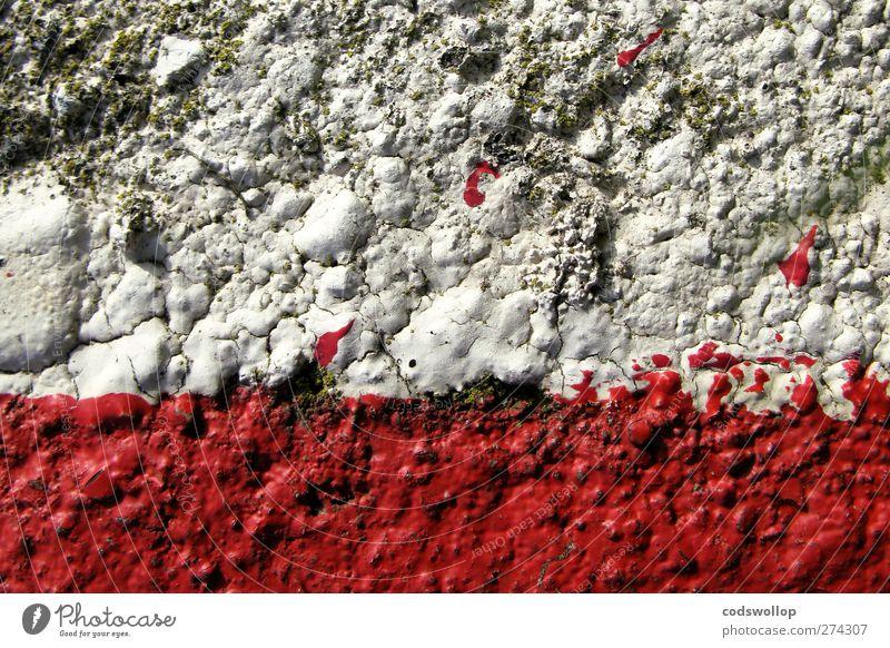 anyone for tennis Mauer Wand Fassade rot weiß Strukturen & Formen Riss Farbfoto Detailaufnahme abstrakt Muster