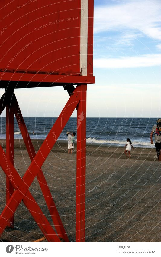 Mar Azul con Rot Himmel Meer blau rot Strand Sand Argentinien