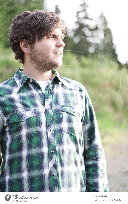 Ein Männlein steht im Walde I Mensch Himmel Natur Jugendliche weiß grün Baum Freude Einsamkeit Erwachsene Landschaft braun Stimmung Körper Junger Mann