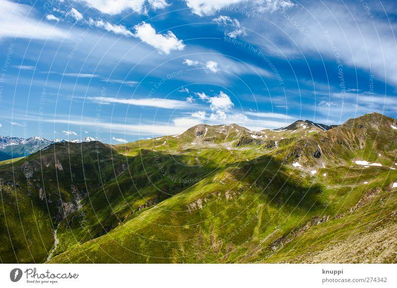 endless landscape Umwelt Natur Landschaft Pflanze Himmel Wolken Horizont Sonne Sonnenlicht Sommer Herbst Schönes Wetter Wärme Gras Sträucher Hügel Felsen Alpen