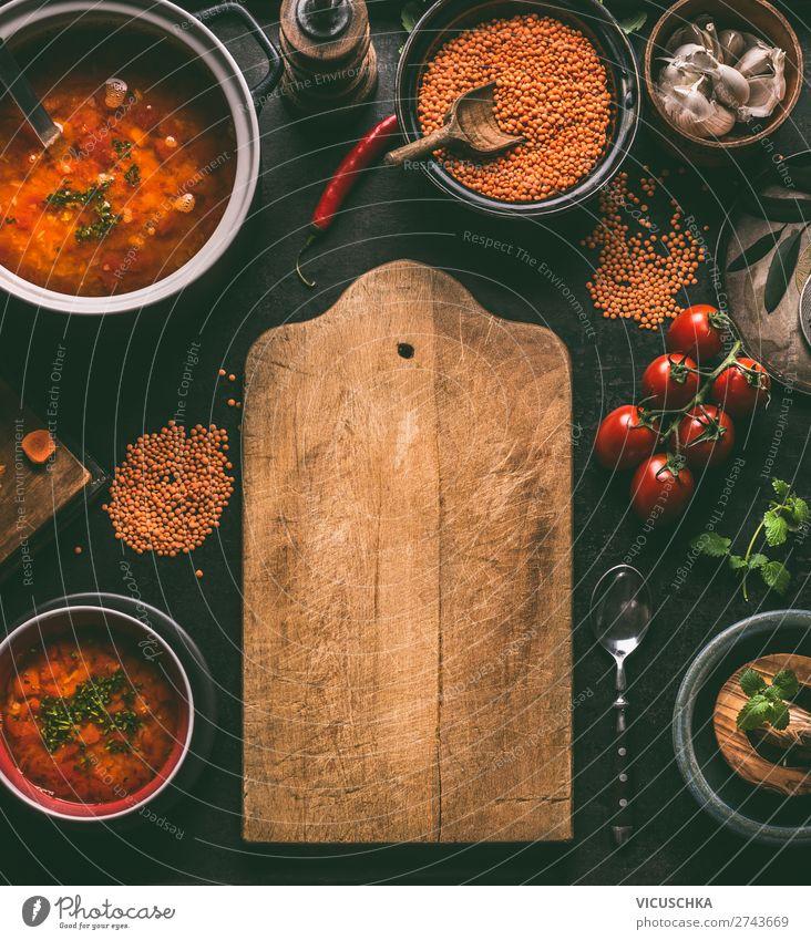 Linsen Gerichten Hintergrund Lebensmittel Getreide Suppe Eintopf Kräuter & Gewürze Ernährung Mittagessen Abendessen Bioprodukte Vegetarische Ernährung Diät