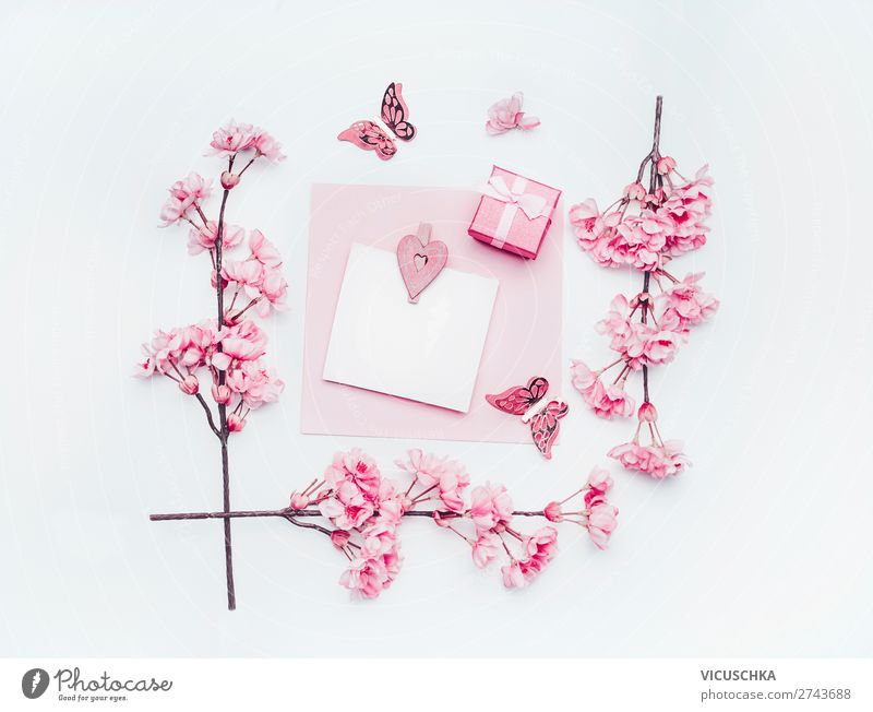 Leerer Grußkarte mit pastellrosa Frühlingsblüte Stil Design Feste & Feiern Blume Papier Dekoration & Verzierung Blumenstrauß Schleife Liebe weiß blank greeting