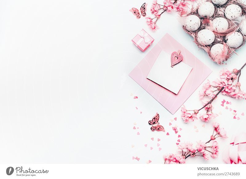 Ostern Dekoration auf weiß Stil Design Dekoration & Verzierung Feste & Feiern Frühling Blume Blüte trendy rosa Tradition Hintergrundbild Entwurf
