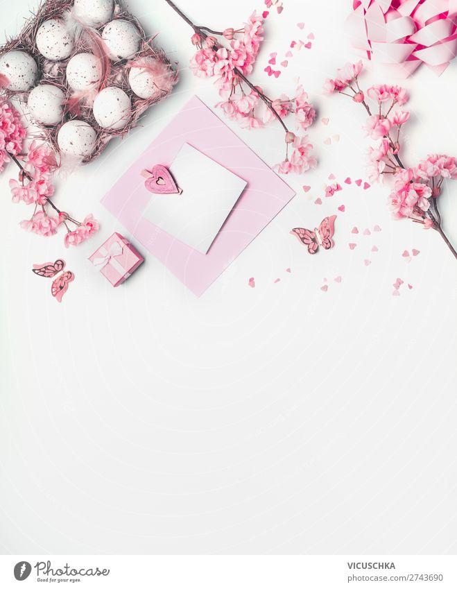 Ostern Grußkarte mock up mit rosa Frühlingsblüten Stil Design Dekoration & Verzierung Feste & Feiern Blume Blatt Blüte Blumenstrauß Tradition