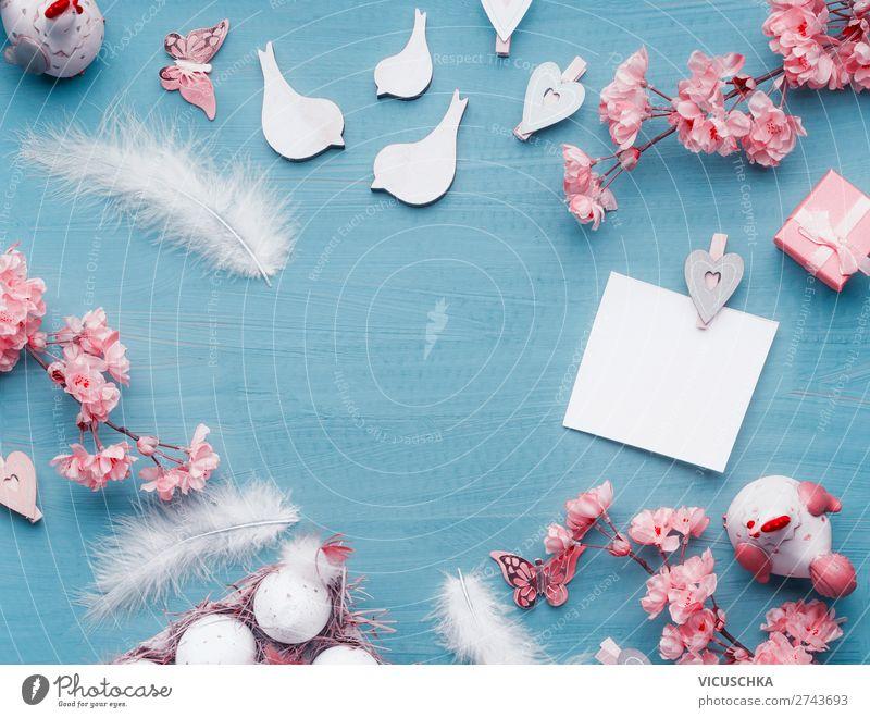 Ostern Hintergrund mit Eiern und Dekoration Stil Design Dekoration & Verzierung Feste & Feiern Schleife retro Tradition Hintergrundbild Symbole & Metaphern