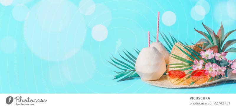 Tropische Summer Urlaub Hintergrund Ferien & Urlaub & Reisen Sommer Sonne Meer Strand Hintergrundbild Stil Tourismus Design Bekleidung Getränk Sommerurlaub