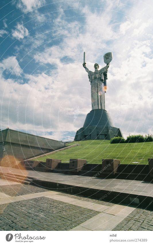 Roadtrip 2012 blau Ferien & Urlaub & Reisen grün Bauwerk Denkmal Statue Stahl Wahrzeichen Sehenswürdigkeit Schutzschild Hauptstadt gigantisch Schwert