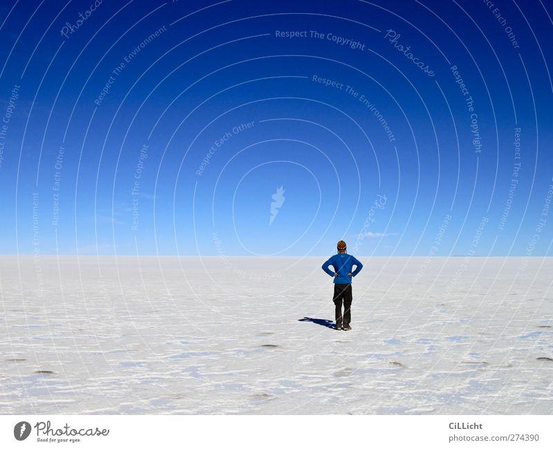 Blick in den Vorgarten Mensch maskulin Junger Mann Jugendliche 1 18-30 Jahre Erwachsene Natur Landschaft Erde Himmel Wolkenloser Himmel Dürre Wüste Salzwüste