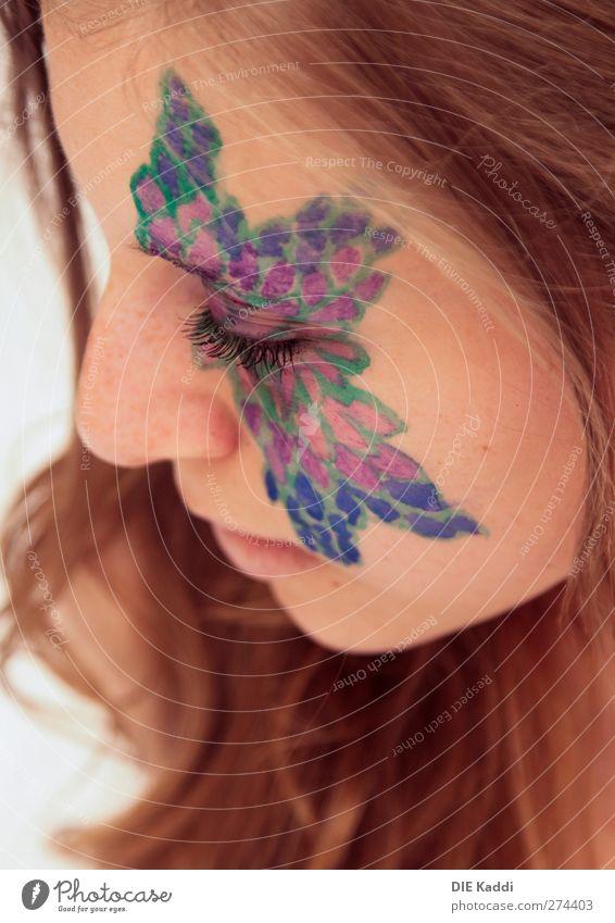 entfalten Mensch Frau Jugendliche blau grün schön Erwachsene Gesicht Auge feminin Haare & Frisuren Junge Frau Kopf Denken Kunst Haut