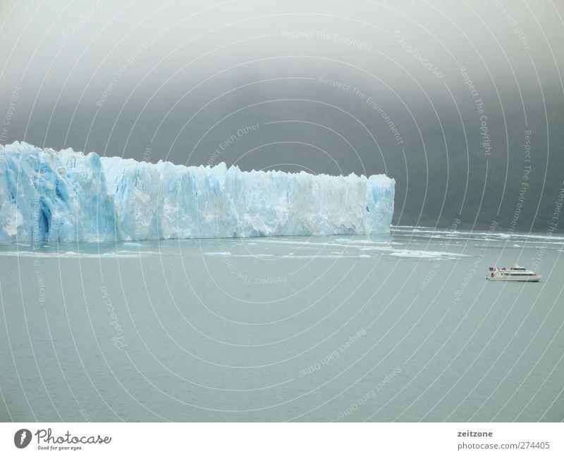Ewiges Eis Umwelt Natur Urelemente Luft Wasser Himmel Wolken Klima Klimawandel schlechtes Wetter Nebel Frost Schnee Gletscher Küste See Gletscherspalte