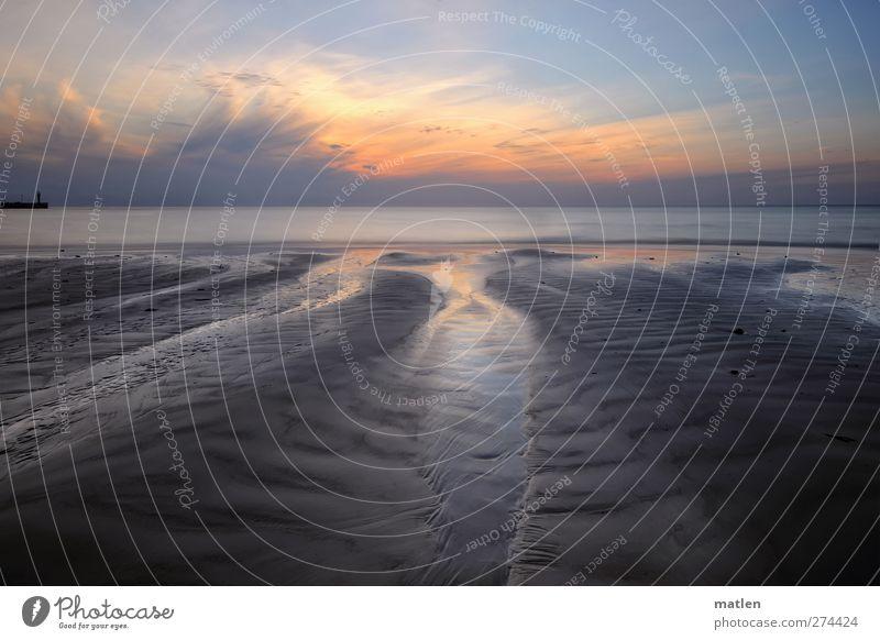 na Gutnacht Himmel blau Wasser Sommer Meer Strand Wolken Landschaft Küste Sand braun orange Schönes Wetter Leuchtturm Mole