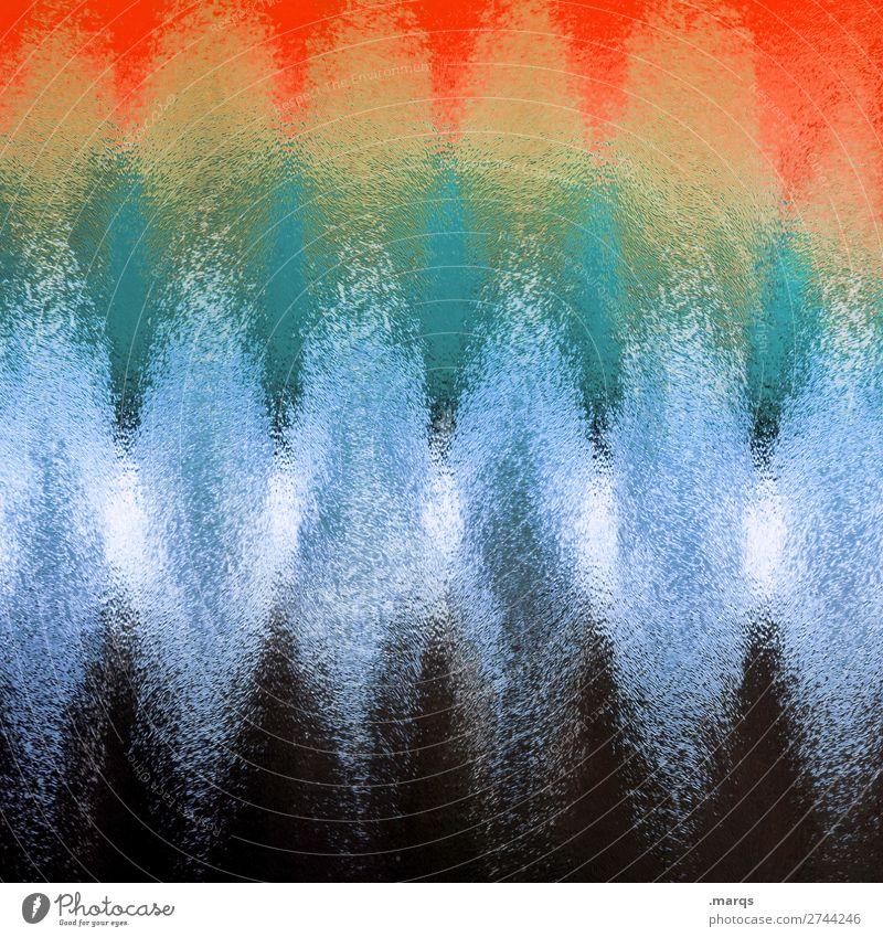 Milchglas Glas Streifen Wellenform retro blau orange schwarz türkis Farbe Hintergrundbild Farbfoto Innenaufnahme abstrakt Muster Strukturen & Formen