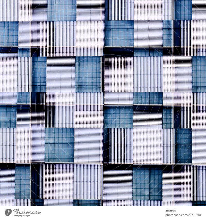 Fassade Bauwerk Gebäude Architektur außergewöhnlich verrückt blau weiß Farbe Perspektive Hintergrundbild Doppelbelichtung Farbfoto Außenaufnahme abstrakt Muster