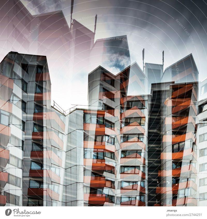 Level 2700 Stil Himmel Wolken Stadt überbevölkert Haus Hochhaus Häusliches Leben außergewöhnlich bedrohlich gigantisch einzigartig verrückt modern Perspektive