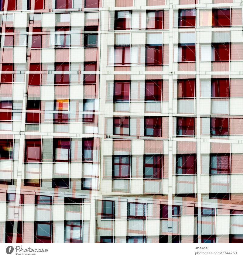 Wohnmaschine Lifestyle elegant Stil Design Hochhaus Fassade Fenster Linie Häusliches Leben außergewöhnlich trendy einzigartig viele rot schwarz weiß Ordnung