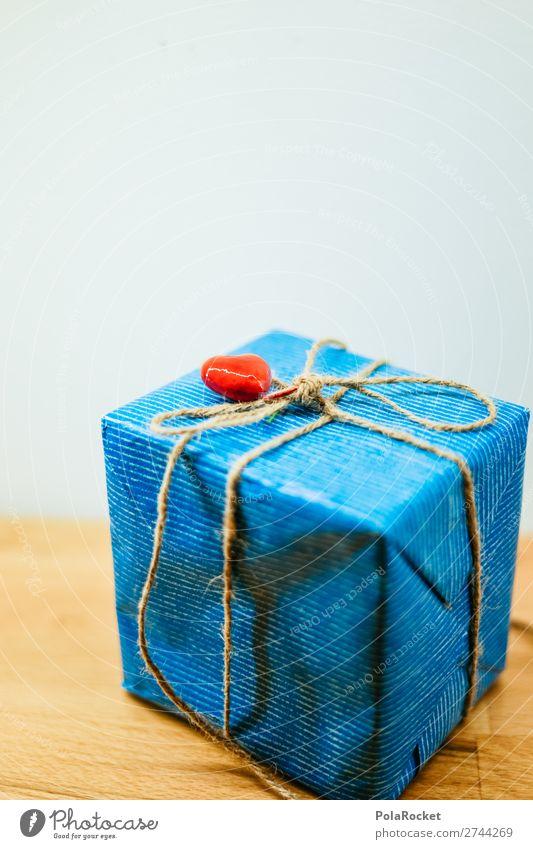 #S# Geschenk Schleife Glück Geschenkpapier herzlich Herz rot Überraschung Schnur blau Freundlichkeit Party Geschenkband Neugier Farbfoto Innenaufnahme