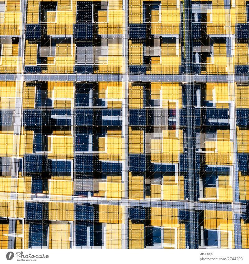 Solar Stil Design Fassade Solarzelle Energiewirtschaft Linie außergewöhnlich einzigartig modern blau gelb weiß nachhaltig Ordnung Zukunft Doppelbelichtung