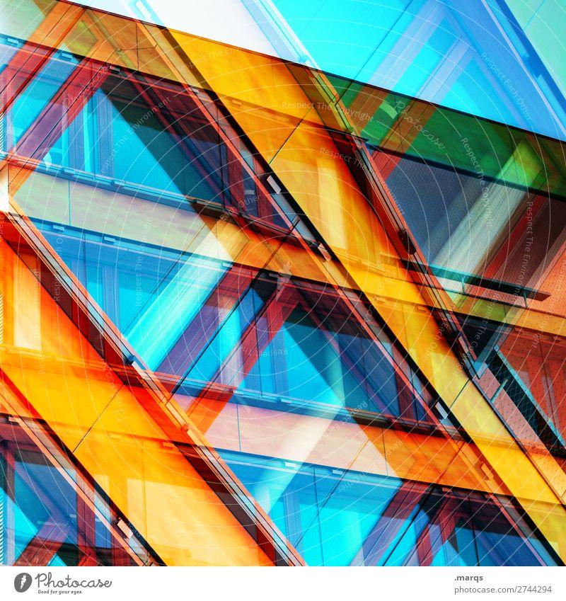 Kreuz|Quer Lifestyle elegant Stil Design Gebäude Architektur Fassade Fenster Glas Linie außergewöhnlich Coolness trendy einzigartig modern verrückt mehrfarbig