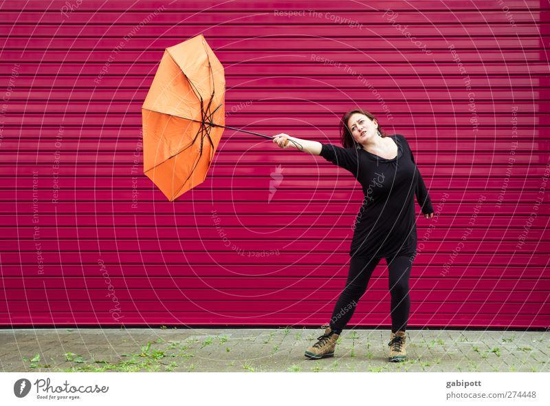 bitti Poppins | UT S/HD 2012 Mensch Frau schön Sommer rot schwarz Erwachsene Umwelt Leben Herbst orange Wetter Wind rosa wild Freizeit & Hobby