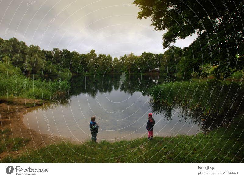 im trüben fischen Mensch Kind Natur Wasser Baum Pflanze Mädchen Tier Wolken ruhig Wald Umwelt Landschaft Leben Junge Sand
