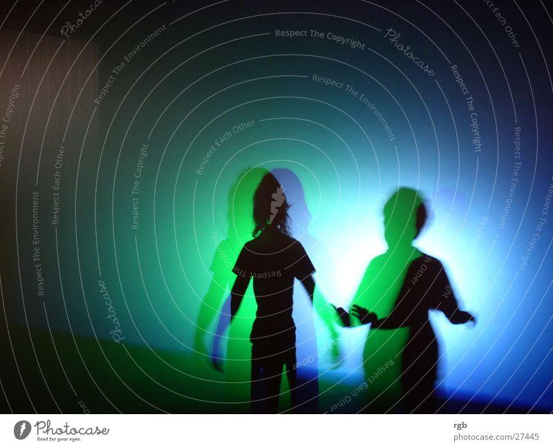 lichtspiel grün blau Farbe Freundschaft