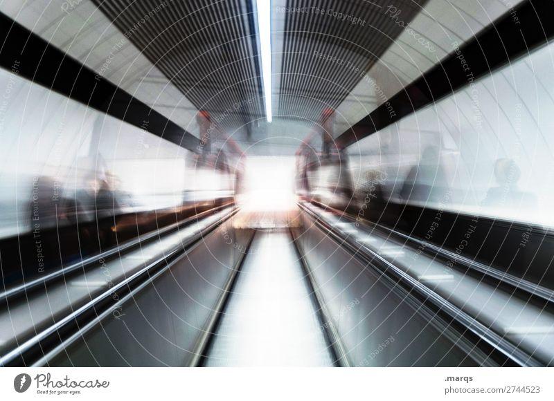 Underground Mensch Tunnel Unterführung Rolltreppe Untergrund rennen Bewegung dunkel Fortschritt Stress Stadt Zukunft Tunnelblick Farbfoto Innenaufnahme abstrakt