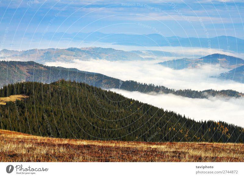 Nebel über den Bergen und Tälern schön Ferien & Urlaub & Reisen Tourismus Abenteuer Berge u. Gebirge wandern Umwelt Natur Landschaft Himmel Wolken Wetter Park