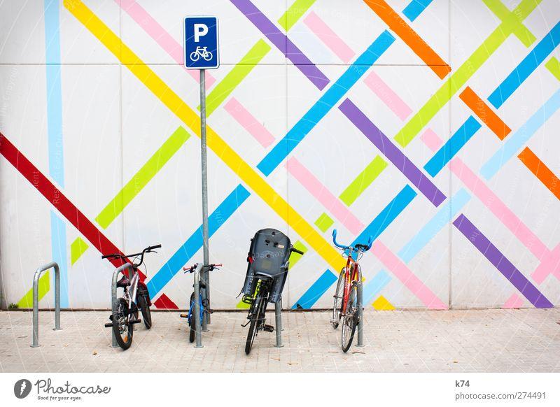 fancy parking II blau grün rot gelb Wand Mauer orange Fahrrad rosa warten Schilder & Markierungen Verkehr frisch Fröhlichkeit Schriftzeichen stehen