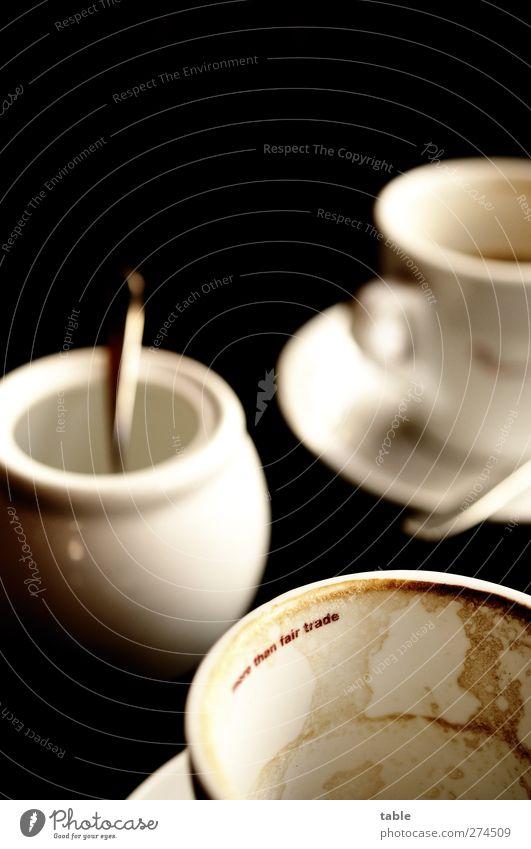Kaffeepause weiß ruhig schwarz dunkel Lebensmittel braun dreckig Lifestyle Getränk Pause genießen Gastronomie Gelassenheit Café Lebensfreude