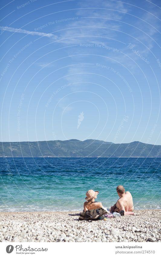 uuuurlaub Mensch Frau Mann blau Ferien & Urlaub & Reisen Sommer Sonne Meer Strand Erwachsene Wärme Küste Paar Schwimmen & Baden Wellen Tourismus