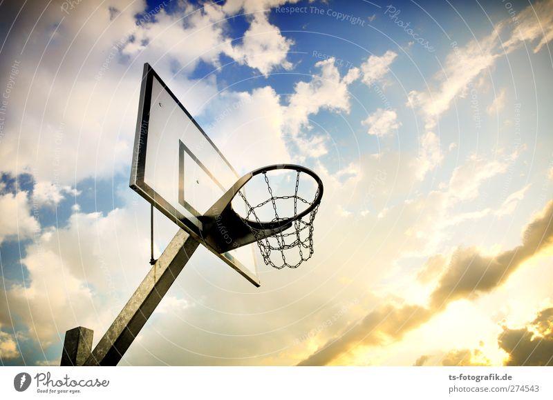 Ab ins Körbchen! Himmel Natur blau Sommer Sonne Wolken gelb Sport Spielen Frühling Bewegung springen Luft hoch Lifestyle Schönes Wetter