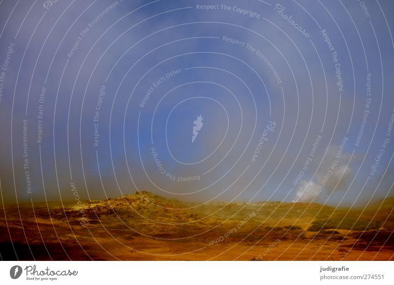 Island Himmel Natur Umwelt Landschaft dunkel Wärme Erde außergewöhnlich natürlich Urelemente bedrohlich Rauchen heiß Wasserdampf