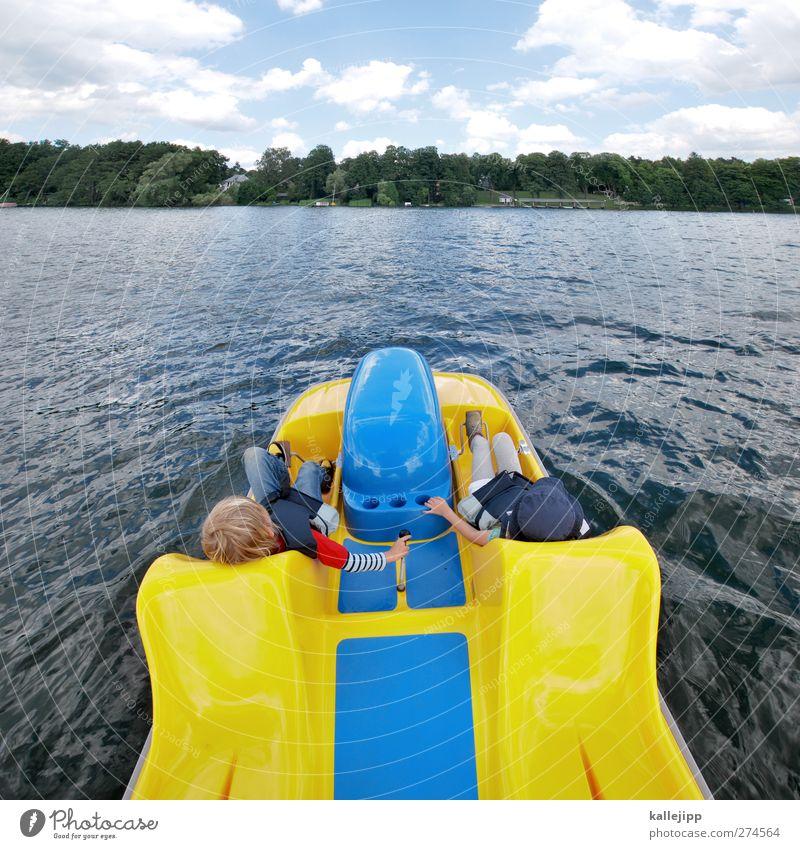 tretmühle Lifestyle Freizeit & Hobby Kind Mädchen Junge Freundschaft Kindheit 2 Mensch Umwelt Natur Landschaft Wasser Sommer Wellen Küste Seeufer Tretboot