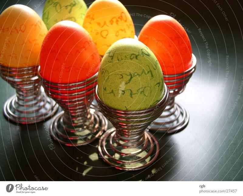 alles so schön bunt hier grün Ernährung gelb Farbe Frühling orange Ostern Ei mehrfarbig Osterei Eierbecher