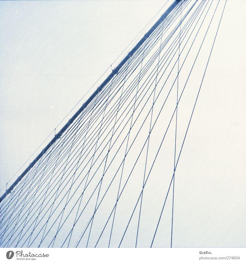 Brooklyn Bridge blau Ferien & Urlaub & Reisen kalt Gebäude Metall Linie Kraft Tourismus Brücke Unendlichkeit Bauwerk Städtereise