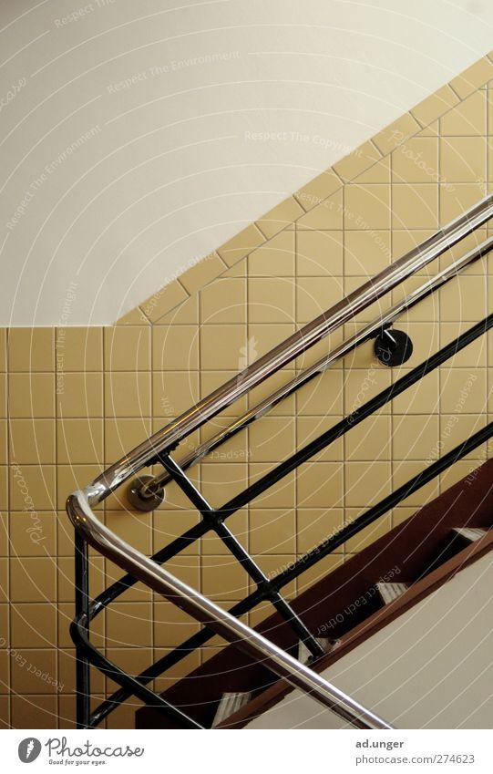 Handlaufen Architektur Treppe Metall gebrauchen berühren Bewegung ästhetisch einfach nackt rund Sicherheit Zufriedenheit Treppengeländer Treppenhaus Chrom